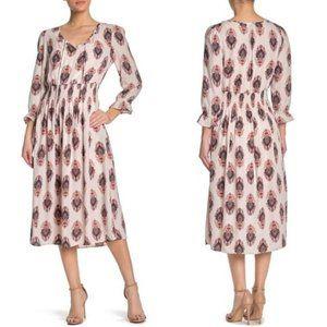 Bobeau Long Sleeve Smocked Waist Midi Dress, XL